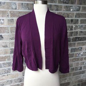 ANN TAYLOR Cropped Cardigan Bolero Purple Sweater